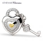 ATHENAIE 925 <b>Silver</b> with Pave Clear CZ Lock of Love Charm Beads Fit All European <b>Bracelets</b> Gift For Christmas , Valentine's Da