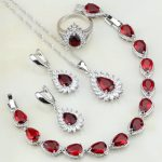 Fire 925 <b>Silver</b> Jewelry Red Cubic Zirconia White CZ Bridal Jewelry Sets For Women Party Necklace/Earrings/<b>Bracelet</b>/Pendant/Ring