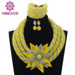 Big Flower African Costume Indian Bridal <b>Jewelry</b> Set Unique Silver/Yellow Crystal <b>Handmade</b> Bead <b>Jewelry</b> Set Free ShippingABL937
