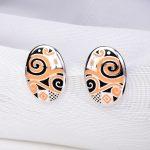 RainMarch Geometric Enamel Silver Stud Earrings For Women Engagement 925 Sterling Silver Earring Bohemian <b>Handmade</b> Party <b>Jewelry</b>