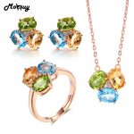MoBuy 3pcs Jewelry Sets For Women Oval Gemstone Topaz Citrine Peridot 100% 925 Sterling <b>Silver</b> Anniversary Gift Jewelry V003ENR