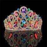 Vintage Multi-color Rhinestone Bridal Tiara <b>Fashion</b> Golden Diadem for Women Wedding dress Hair <b>jewelry</b> Princess Crown accessorie