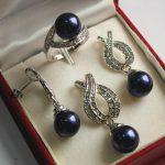 Prett Lovely Women's Wedding nice new <b>jewelry</b> plated + 12mm dark blue shell pearl earring, , ring set