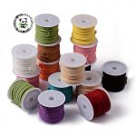 25rolls/bag Promotion 3×1.5mm Mixed Color Faux Suede Cord Leather Lace For Clothes Shoes <b>Jewelry</b> <b>Making</b> Findings about 5m/roll