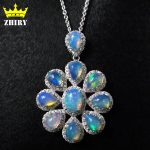 ZHHIRY Natural Fre Opal Necklace Genuine Gem Color Stone 925 <b>Sterling</b> <b>Silver</b> Women Fantastic <b>Jewelry</b>