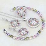 925 Sterling <b>Silver</b> Jewelry Multicolor Mystic Rainbow White CZ Jewelry Sets For Women Necklace/Earrings/<b>Bracelet</b>/Pendant/Ring