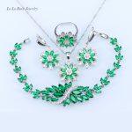 L&B Snowflake Green created Emerald White zircon <b>silver</b> color 925 logo Jewelry Set crystal <b>Bracelet</b>/Necklace/Earrings/Ring