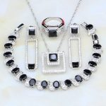 Black Stones White Cubic Zirconia 925 Sterling <b>Silver</b> Jewelry Sets For Women Wedding Earring/Pendant/Necklace/<b>Bracelet</b>/Ring