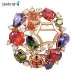 LUOTEEMI Brand Mona Lisa Wedding Brooch for Women Multicolor Cubic Zircon Inlay Rose Gold-Color <b>Fashion</b> Brooch <b>Jewelry</b> Gift