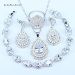 L&B Romantic Gift 925 Sterling <b>Silver</b> Women 4PCS Jewelry Sets White Crystal Zircon Earrings Rings Necklace Pendant <b>Bracelet</b>