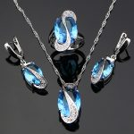 Mystic Oval Blue Cubic Zirconia 925 Silver <b>Jewelry</b> Sets For Women <b>Wedding</b> Earrings/Pendant/Necklace/Ring drop shipping