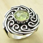 Rare LEMON Quartzs <b>ANTIQUE</b> STYLE Ring Size US 7 ! Silver Plated Metal Jewellery India <b>Jewelry</b>