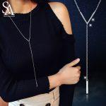 "SA SILVERAGE Real 925 Sterling <b>Silver</b> Sweater Chain <b>Necklaces</b>/Pendants AAA Zirconia Choker <b>Necklace</b> ""V"" Long Vintage <b>Necklaces</b>"