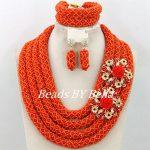 <b>Handmade</b> Fashion Wedding Women Costume <b>Jewelry</b> Set Orange Crystal Beads Necklace African <b>Jewelry</b> Set Free Shipping ABY368