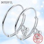 2pcs Solid 925 Sterling <b>Silver</b> Children's <b>Bracelet</b> Bangles Bells Peanut Pendant <b>Bracelet</b> Bangles Boy Girl Jewelry