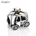 Beagloer 925 Sterling Silver Royal Carriage White Pearl Gold Crown Charm Fit <b>Handmade</b> Bracelet DIY <b>Jewelry</b> Making PSMB0061