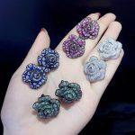 925 sterling silver with cubic zircon rose flower stud earring cute romantic fashion women <b>jewelry</b> party <b>wedding</b> green blue 24MM