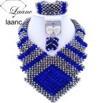 Laanc 2017 African Royal Blue <b>Silver</b> Beads Jewelry Set Bridal Wedding Party Jewelry Sets Nigerian Necklace and Earrings FK006