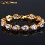 CWWZircons Famous Brand Diamante <b>Jewelry</b> Gold Color Pear Cut Cubic Zirconia Bridal Wedding Bracelet For Women CB154