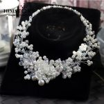 HIMSTORY High End Pure <b>Handmade</b> Crystal Necklace Pearl Crystal Charm <b>Jewelry</b> Bride Necklace Wedding Hair Accessories