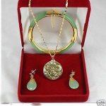 real Women's Wedding New <b>Jewelry</b> green gem stone necklace pendants earrings bracelets Set silver-<b>jewelry</b>