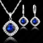 JEXXI Hot Sale 6 Colors 925 Sterling <b>Silver</b> <b>Jewelry</b> Set Short Chain Charm Pendant Necklace Earring Crystal Set for Women