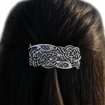 <b>Antique</b> Silver Irish Celtics Knots Vikings Large French Barrette Hair Clip Vintage Hair <b>Jewelry</b> Accessories for Women