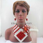 African Indian Big Costume <b>Jewelry</b> Sets <b>Handmade</b> Red/White Crystal Beads Necklace Set Nigerian Bridal <b>Jewelry</b> Free Shipp W13337