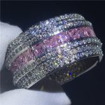 Luxury Big ring White Gold Filled Pink zircon Cz Engagement <b>wedding</b> band rings for women Bridal Finger <b>Jewelry</b>