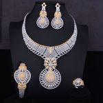 GODKI New Luxury 2 Tone Gold <b>Silver</b> Mixed Women Nigerian Wedding Naija Bride Cubic Zirconia Necklace Dubai 4PCS Jewelry Set
