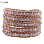 KELITCH Brand <b>Jewelry</b> Youth Cute Bright Crystal Beaded with Leather Wrap Bracelet <b>Handmade</b> Bohemian Pulsera AZ5W-15052