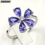 ZHHIRY Real Blue Tanzanite Ring 925 <b>Sterling</b> <b>Silver</b> Natural Gem Stone Rings For Woman Fine <b>Jewelry</b>