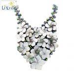 Lii Ji <b>Handmade</b> knitting Shining Crystal Beads setting Shell Flowers Women <b>Jewelry</b> Statement Necklace