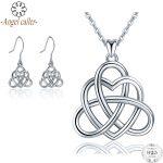 Angel Caller 925 Sterling <b>Silver</b> Celtics Love Knot Pendant Necklaces&<b>Earring</b> Good Luck Love Heart Wedding Jewelry Sets For Women