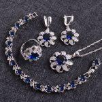 Blue Zircon Costume Silver 925 <b>Jewelry</b> Sets Women Earrings With Stones Bracelets Necklace&Pendant Rings Set Jewelery Gift Box