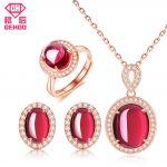 GEHOO New Pretty Red Ruby Bridal Wedding Jewelry Set Women CZ Paved Gemstone 925 Sterling <b>Silver</b> <b>Earrings</b> Pendant Necklace Ring