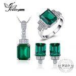 JewelryPalace Created Emerald <b>Jewelry</b> Set 925 <b>Sterling</b> <b>Silver</b> Ring Necklace Pendant Earring Clip Women Bridal <b>Jewelry</b> Set