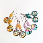 12pair/lot Colorful Convex Circular Life Tree Drop Earrings Stone Beads Earrings <b>Handmade</b> Orange Earrings Friendly <b>Jewelry</b>