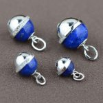 FNJ 925 Sterling Silver Pendant Round Natural lapis lazuli 100% Pure S925 Solid Thai Silver Pendants for Women <b>Jewelry</b> <b>Making</b>