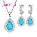 Jemmin Big Luxury Fire Blue Opal Water Drop Necklace <b>Earrings</b> Set High-Grade Women 925 Sterling <b>Silver</b> Crystal Jewelry Sets