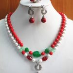 Prett Lovely Women's Wedding anniversary! Wholesale Women's 8mm 2 rows mixed colors shell pearl/gem Necklace earring 7/8/9