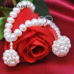 YIKALAISI 2017 100% Natural 8-9 mm Freshwater 925 sterling <b>silver</b> pearl Jewelry Sets Necklace Drop <b>Earrings</b> Jewelry for women