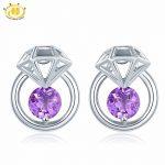 Hutang Fashion New Natural Amethyst Butterfly <b>Earring</b> Solid 925 Sterling <b>Silver</b> Purple Gemstone Fine Jewelry for Women Best Gift