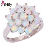 CiNily Created White Fire Opal Silver Plated Wholesale Hot Sell Wedding for Women <b>Jewelry</b> Gift Ring Size 7 8 9 OJ6956