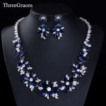 ThreeGraces Luxury Bridal CZ <b>Necklace</b> Earrings Royal Blue Crystal Beads Wedding Evening Party <b>Jewelry</b> Sets For Women JS021
