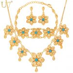 U7 Romantic Flower <b>Necklace</b> Set Gold Color Blue Stone Party Women <b>Necklace</b> Earrings Bracelet <b>Jewelry</b> Set S542