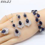 925 <b>Silver</b> Jewelry Sets For Women Sterling <b>Silver</b> <b>Bracelet</b> Sets For Bride Goldfish Blue Zircon Pendant Ring Earrings <b>Bracelet</b>