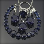 Bridal Blue Zirconia <b>Wedding</b> <b>Jewelry</b> Sets Silver 925 <b>Jewelry</b> With Necklace Bracelets Earrings For Women Rings Set Free Gift box