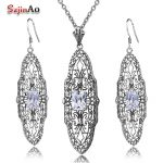 Szjinao Birthstone Party Jewelry Sets Women White Cubic Zircon Real 925 Sterling <b>Silver</b> <b>Earrings</b> Pendant Set Vintage Accessories