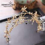 HIMSTORY Baroque Gold Dragonfly And Butterfly Headbands Double Layers Black Stones Bridal Tiara <b>Wedding</b> Hair <b>Jewelry</b> Accessories